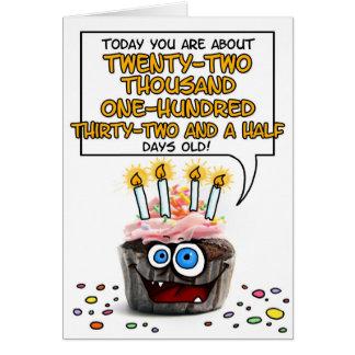 Happy Birthday Cupcake - 60 years old Card
