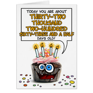 Happy Birthday Cupcake - 88 years old Greeting Card