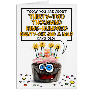 Happy Birthday Cupcake - 90 years old Card