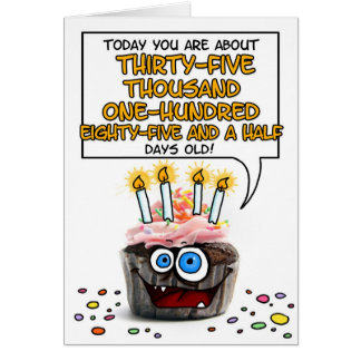 Happy Birthday Cupcake - 96 years old Card