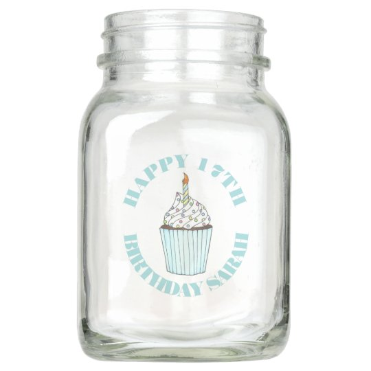 Happy Birthday Cupcake Candle Party Centerpiece Mason Jar