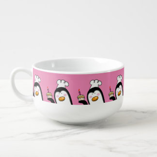 happy birthday cupcake penguin soup mug
