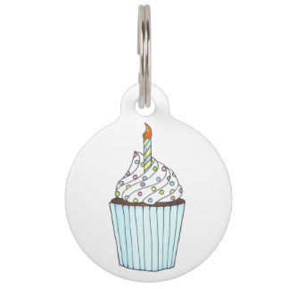 Happy Birthday Cupcake Sprinkles Frosting Candle Pet Tag