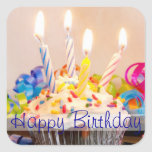Happy Birthday Cupcake with Candles Square Stickers