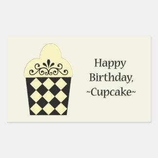Happy Birthday Cupcake yellow black design Stickers