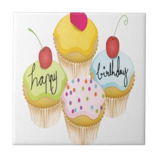 Happy birthday cupcakes design ceramic tile