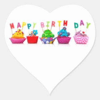 Happy Birthday Cupcakes Heart Sticker