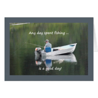 Happy Birthday Custom Fishing Quote Lake in Boat Greeting Card