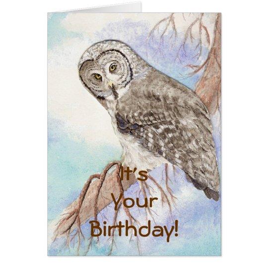 Happy Birthday Custom Great Grey Owl, Bird Nature Card