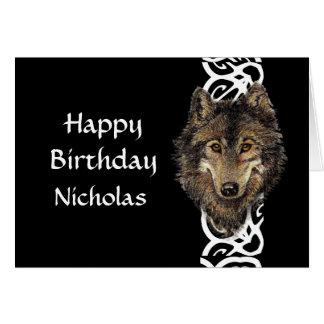 Happy Birthday Custom Name Wild Grey Wolf Head Greeting Card