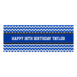 Happy Birthday Custom Year Name Banner Blue Poster