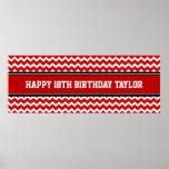 Happy Birthday Custom Year Name Banner Red