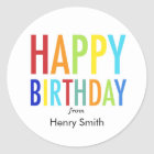 Happy Birthday Customisable Stickers for Gifts