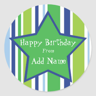 Happy Birthday Customizable Star Sticker