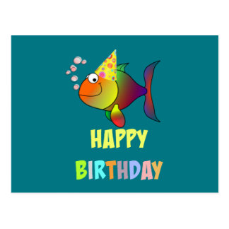 Happy birthday, cute and colorful cartoon fish postcard
