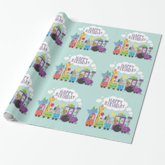 Happy Birthday Cute Animal Train Wrapping Paper