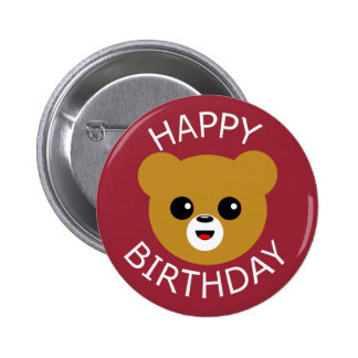 Happy Birthday Cute Bear Face 6 Cm Round Badge