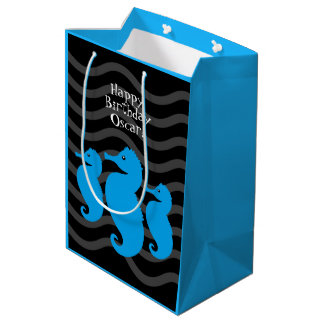 Happy Birthday! Cute Blue Seahorses on Grey Waves Medium Gift Bag
