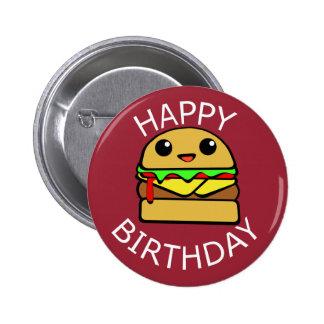 Happy Birthday Cute Cheeseburger 6 Cm Round Badge