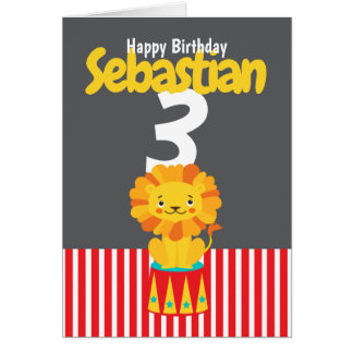 Happy Birthday Cute Lion Personalised Age And Name Card