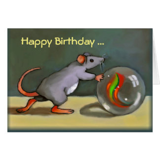 Happy Birthday, Cute Mouse with Marble, Art, PUN Card