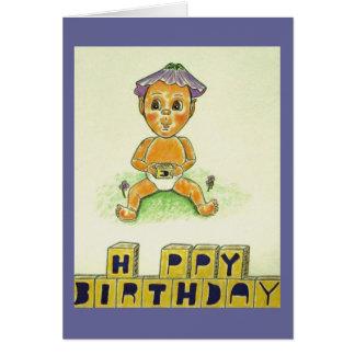 Happy Birthday Cute Orange Figure Card