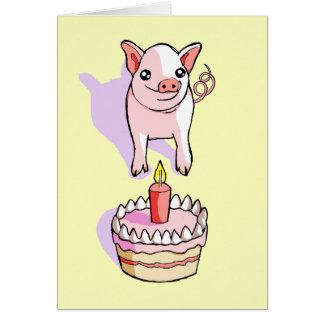 Happy Birthday Cute Piglet Drawing Card