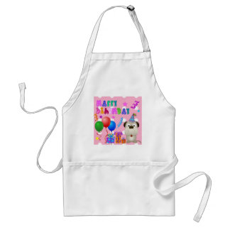 Happy birthday cute puppy with cake and gifts pink standard apron