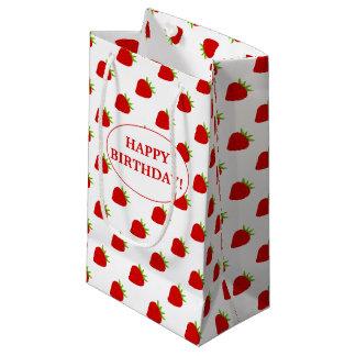 Happy Birthday! | Cute Strawberry Pattern Small Gift Bag