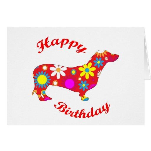 Happy Birthday Dachshund dog greeting card