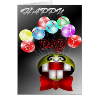 Happy Birthday Dad Balloons Smiley Card