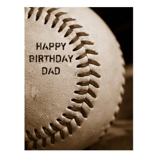 Happy Birthday Dad Baseball Postcard