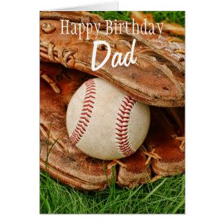 Happy Birthday Dad Baseball with Mitt Greeting Cards