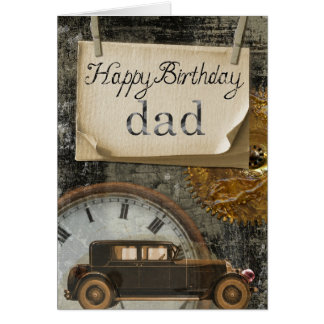 Happy Birthday Dad Car Clock Retro Vintage Design Card