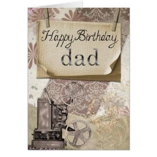 Happy Birthday Dad Vintage Art Design Greeting Card