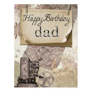 """""""Happy Birthday Dad"""" vintage postcard"""