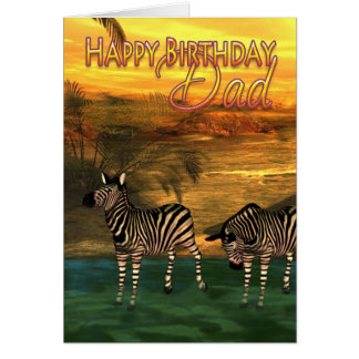 Happy Birthday Dad Zebras In Water Greeting Card
