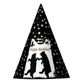 Happy Birthday Dancing Black Bears White Polka Dot Party Hat