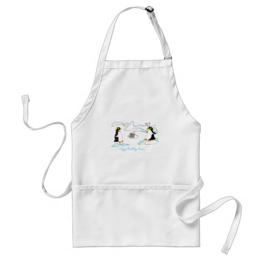 Happy birthday, dear! Cute pinguins, fish -cake Aprons