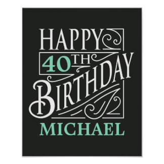 Happy Birthday design, decorative vintage style. Poster