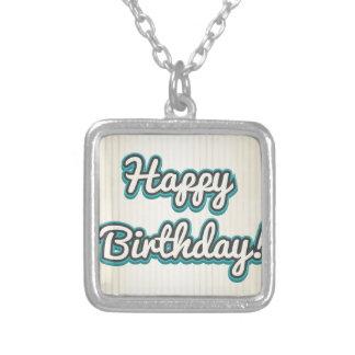Happy Birthday design Square Pendant Necklace