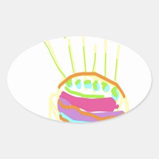 Happy Birthday Design Oval Sticker