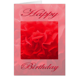 Happy Birthday Dianthus Red Flower Card
