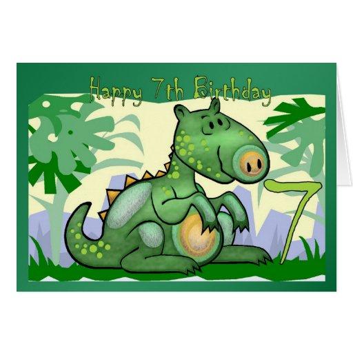 Happy Birthday Dinosaur Card 7th Birthday