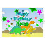 Happy Birthday Dinosaurs Your Name Card