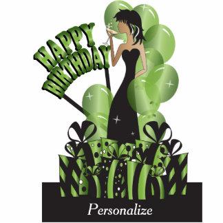 Happy Birthday Diva Girl | DIY Name | Bright Green Standing Photo Sculpture