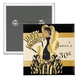 Happy Birthday Diva Girl | DIY Name | Gold 15 Cm Square Badge