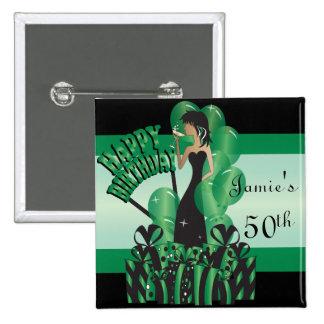 Happy Birthday Diva Girl | DIY Name | Green 15 Cm Square Badge
