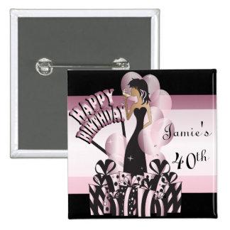 Happy Birthday Diva Girl | DIY Name | Pink 15 Cm Square Badge