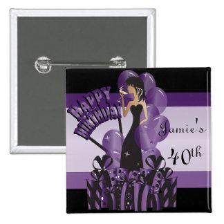 Happy Birthday Diva Girl | DIY Name | Purple 15 Cm Square Badge